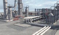 大型石油原油加工化工厂:三维工业机械动画制作